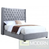 Tola Velvet Upholstered Tower High Profile Contemporary Bed Grey
