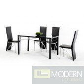 Modrest CT71 Modern Black Dining Table w/ Glass Top