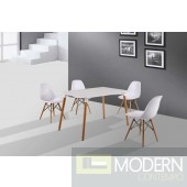 5pc Modern White Eiffel Chair & Table Dining Set
