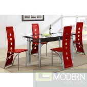 Modern 5 Piece Glass Table Dining Set, Glass Table & Metal/  Red Leather Chairs. MCGSD2212RED   Free 24 to 48hrs Inside Delivery in DMV metro area.