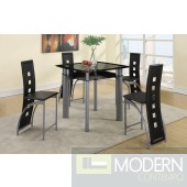 Modern 5 Piece Glass Table Dining PUB Set, Glass Table & Metal/  Red Leather Chairs. MCGSD2224BLACK  Free 24 to 48hrs Inside Delivery in DMV metro area.