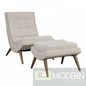 RAVE UPHOLSTERED BEIGE FABRIC LOUNGE CHAIR SET IN SAND