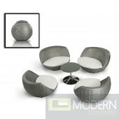 Renava Ovum - Modern 5-Piece Egg Shape Patio Set
