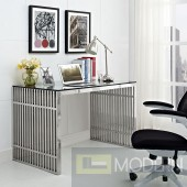 Gridiron Glass top with Stainless Steel Office desk in Silver