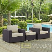CONVENE 3 PIECE OUTDOOR PATIO SOFA SET IN ESPRESSO