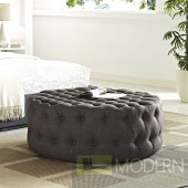 Brown Amour Tufted fabric Round Ottoman
