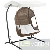Vantage Outdoor Patio Wood Swing Chair, Brown White