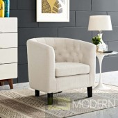 Beige Fabric Upholstered Armchair