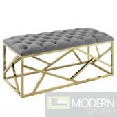 Mezzare Velvet tufted Bench in Gold