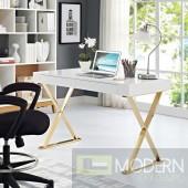 Modern Loyalty Office Desk in White Gold