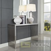 Modern Gridiron Stainless Steel Console Table