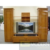 Classic Design High gloss cherry lacquer finish TV Wall Unit. Made in Italy.