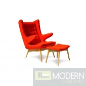 Moderno Mid-Century Chair and Ottoman -Orange