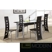 Modern 5 Piece Glass Table Dining Set, Glass Table & Metal/  Red Leather Chairs. MCGSD2212Black  Free 24 to 48hrs Inside Delivery in DMV metro area.