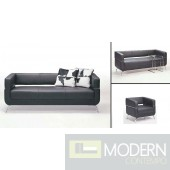 F51 Contemporary Black Leather Sofa Set