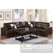 Espresso Bonded Leather Reversible Sectional MCGSL7629 Free 24 to 72 hours inside delivery