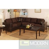 Microfiber and Faux Brown Leather Reversible Sectional MCGSL7631 Free 24 to 72 hours inside delivery