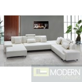 MAVIN Modern White Bonded Leather Sectional Sofa with Headrests