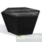 A&X Hexagon Shaped Black Crocodile Lacquer Coffee Table