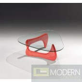 Modrest J059 Contemporary Red Coffee Table w/ Glass
