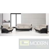 Divani Casa 2927 Grey and Black Bonded Leather Sofa Set