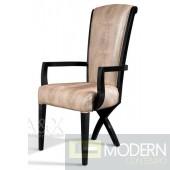 A&X Transitional X Leg Crocodile Leather Dining Arm Chair
