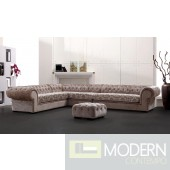 Divani Casa Metropolitan - Transitional Acrylic Crystal Tufted Fabric Sectional Sofa