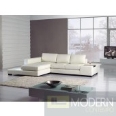 Divani Casa T35-Mini White Bonded Leather Sectional with Light