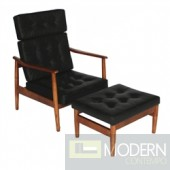 Mid Century Modern Vod Black Leather Lounge Set