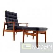 Mid Century Modern Vod Black Leather Lounge Set