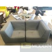 Mid Century Modern 2pc Align Grey Fabric Loveseat