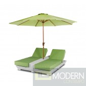 Renava Gemini - Two Lounge Chair Built-in Base and Umbrella Patio Set