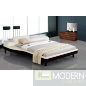 Modrest Portofino - White Adjustable Leather Bed with Built-In Nightstands