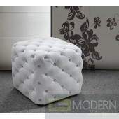 Divani Casa 0419G - Modern Eco-Leather Pouf With Tufted Acrylic Crystals