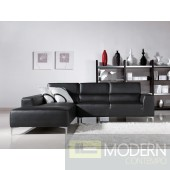 Divani Casa 1063 Modern Black Leatherette Sectional Sofa
