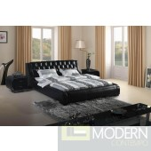 Modrest Contemporary Black Tufted Leatherette Bed