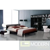 Modrest Mocha - Modern Bed with Headboard Light