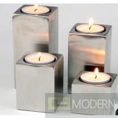 Square Satin Aluminium Finish Candleholder  Set of 4