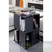 Modrest Edifice Modern Black Lacquer Magazine Rack