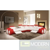 Divani Casa 4087 Modern White and Red Leather Sectional Sofa