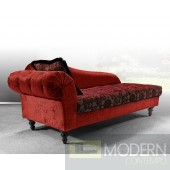 Divani Casa Metropolitan Red Fabric Chaise with Crystals