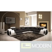 Divani Casa 4087 Modern Black and White Leather Sectional Sofa