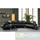 Divani Casa Jupiter Ultra Modern Black Leather Sectional Sofa