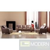 Divani Casa Full Leather Bremen Brown Sofa Set