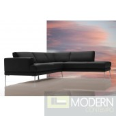 Dima Mirage Modern Black Leather Sectional Sofa - Made In Italy