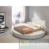 Modrest Palazzo White Leatherette Round Platform Bed