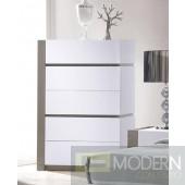 Modrest Vero Modern White w/Grey Accents 5-Drawer Bedroom Chest