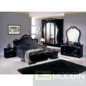 Modrest Judy Italian Classic Black and Gold Eco Leather Bedroom Set