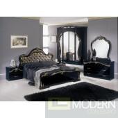 Modrest Judy - Italian Classic Black Bedroom Set (Gold Fabric Headboard)