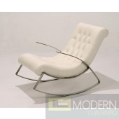 Modern White Full Leather Occassional Chair